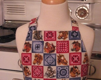 Chefs Apron for Little Boys -  Western Horse and Bandana