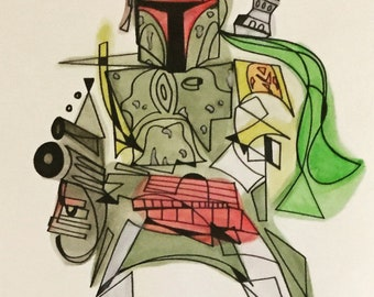 Boba Fett -14 x 17 ink and watercolor piece