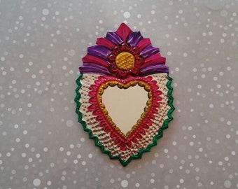 Milagro Sacred Heart, mexican tin heart Ornament, milagro mirror, milagrito heart charm, Sagrado corazon, Frida Kahlo, Mexican Flaming Heart