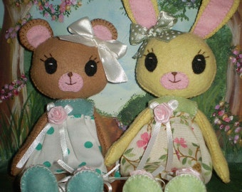 Bunny and Bear Felt Doll Pdf epattern