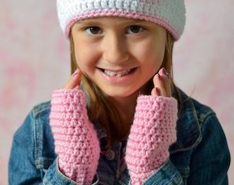 girls crochet hat set fingerless gloves set fingerless gloves crochet beanie girls set crochet gloves crochet set ready to ship hat set pink