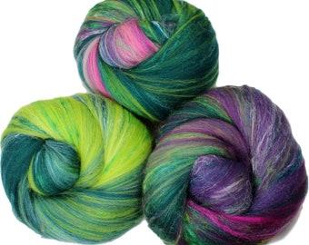 Hyacinth -- classic batts -- (4.2 oz.) organic polwarth, silk, bamboo, sari silk, sparkle.