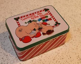 "Vintage 1981 Enesco Metal Tin - ""Teachers are Extra Special Human Beans"" - Christmas Themed Box"