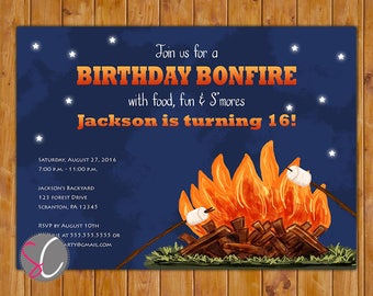 Bonfire Birthday Party Invite Camp Fire Preteen Teen Adult Outdoor Campfire Invitation 13th 16th 60th Any Age 5x7 Digital JPG File (599)