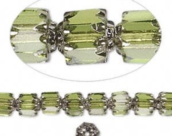 Czech 6mm Faceted Cathedral olivine and silver glass beads (16 inch strand)