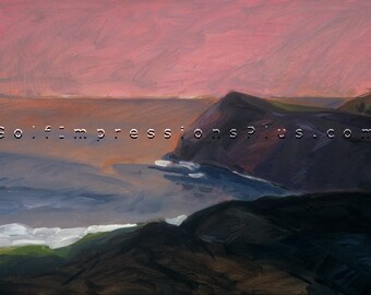"Oil Painting. Seascape. Wall Decor. ""Headlands"". Print of original acrylic painting."