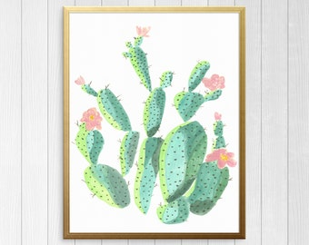 Watercolor Cactus Printable, Cactus and flower water color print, boho wall art printable, instant digital download, galley wall art