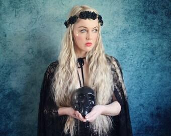 Black mini rose hairband,  flower crown, rose headband