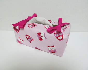 Tissue Box Cover/Pretty Owl x Pink ribbon