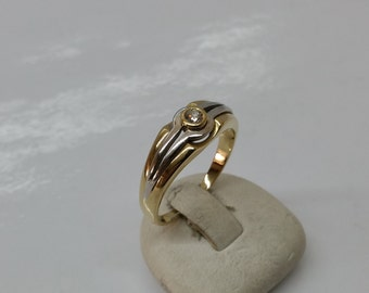 Ring yellow gold white gold 750 18 k diamond precious GR192