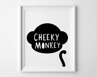Kids nursery decor, wall art print, kids room decor, nursery print, playroom decor, kids wall art, cheeky monkey, mini learners nursery art