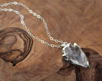 Arrowhead necklace, silver and raw quartz arrowhead necklace