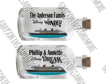 "Disney Ship in a Bottle 8.5"" x 4"" Cruise Door Magnet"