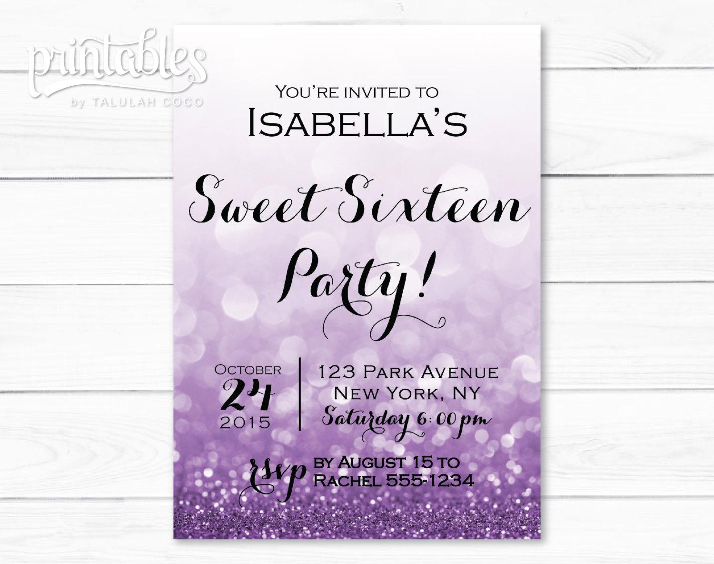 Sweet Sixteen Invitations Purple Sweet 16 Invitation