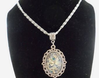 Antique Silver Necklace with Vintage Look Ivory and Blue Pendant (1131)