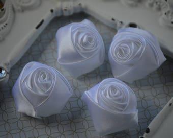 "1.5"" White Satin Fabric Roses, Satin Rolled Rosettes, Satin Flowers, Rolled Roses, Rolled Satin Roses, Satin Flowers, Satin Roses"