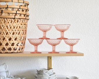 set of 5 pink champagne wine glasses / stemware goblets