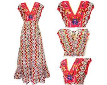 Boho hand embroidered tiered ruffle maxi dress Made from 100% cotton,short sleeves