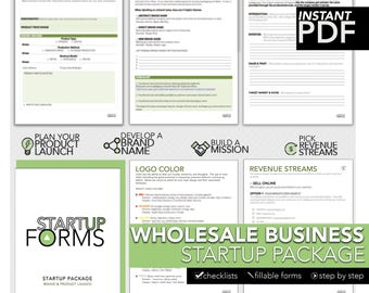 Wholesale Business Startup Package, Business Checklists, Business Forms, Product Planning, Organizational Forms, Business Startup Guide