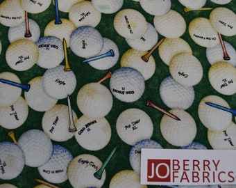 Golf Balls from the Tee'd Off Collection by Dan Morris for Quilting Treasures.  Quilt or Craft Fabric, Fabric by the Yard.