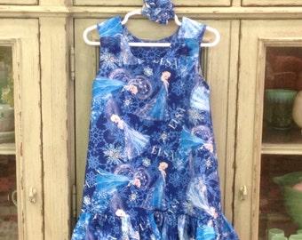 THE ANNA - Elsa Frozen Dress with Ruffle, Blue (baby, girls, toddler, infant, child) Jumper or Sundress