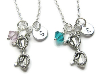 2 Personalized Eyeglasses Swarovski Birthstone Necklaces,2 Best Friends Necklaces,Glasses Necklaces,Glasses Best Friends Necklaces,Monogram