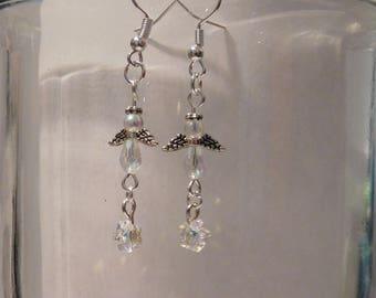 Tiny clear angel earrings