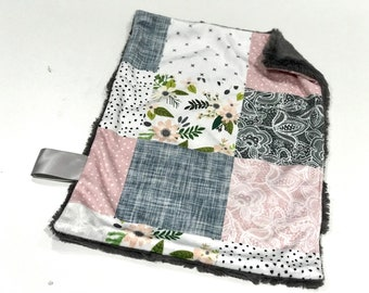 Pink and Grey Sprigs and Bloom Floral Baby Girl MINKY Lovey Blanket, MINI Minky Baby Blanket, Taggie Blanket, Flowers and Lace Blanket