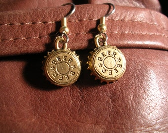 Beer Cap Earrings . Gold or  Silver finish.