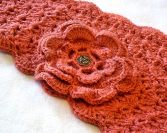 Apricot Scarflette with Flower, Buttoned Scarflette, Buttoned Neck Warmer, SC141-01