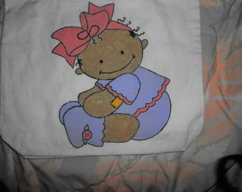 Hand Painted Canvas Tote Bow Baby
