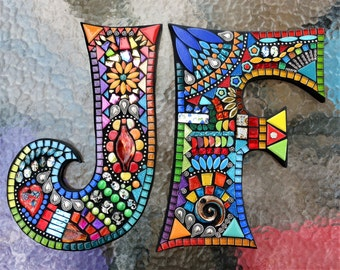 """MOSAIC INITIALS/LETTERS - Totally Customizable - These are 12"""" tall in the 'Wild & Funky' Style' / Your Color Choice / Mixed Media / Ooak!!"""