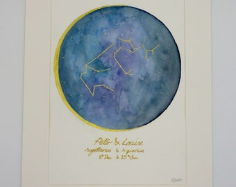 Original Zodiac star sign painting Water Colour and Gold ink