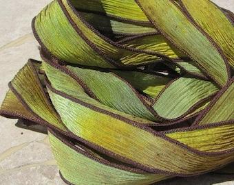 BANANAS Silk Ribbons, Qty 5, Hand Dyed Sewn Watercolor Silk Strings, Crinkle Silk Ribbons, Green Yellow Brown