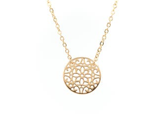 Filigree Flower Necklace - Sterling silver or Gold Fill - Circle Necklace - Dainty Jewelry - Delicate Necklace - Flower Necklace