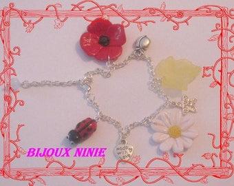 Handmade polymer clay Ladybird and flowers bracelet