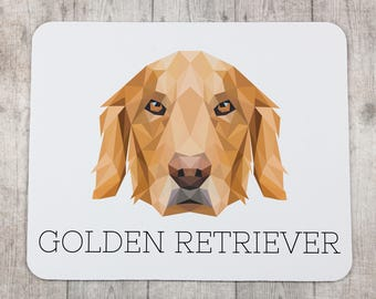 A computer mouse pad with a Golden Retriever dog. A new collection with the geometric dog