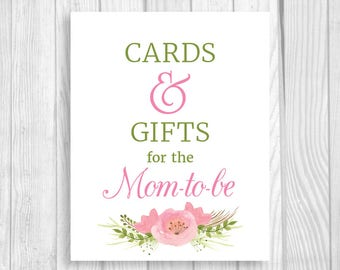 Printable Cards and Gifts for the Mom-to-Be 5x7, 8x10 Baby Shower Sign with Pink Watercolor Flowers - Instant Download