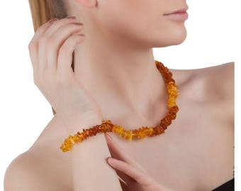 Adult Amber jewelry Set Baltic Amber necklace and amber bracelet woman Genuine Natural stone necklace beads Gemstone necklace for woman
