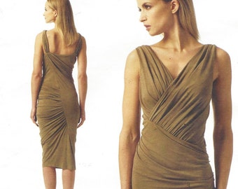 Donna Karan Womens Sexy Ruched V Neckline Dress OOP Vogue Sewing Pattern V1342 Size 4 6 8 10 12 Bust 29 1/2 to 34 UnCut American Designer