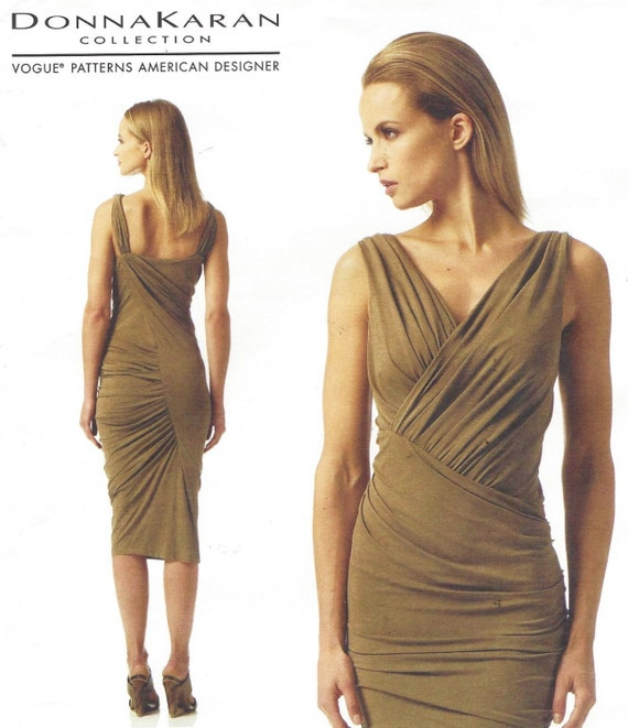 Donna Karan Womens Sexy geraffte Kleid OOP Vogue Nähen Muster
