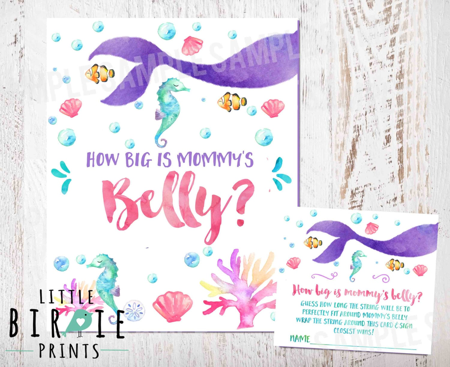 How Big Is Mommys Belly Sign Mermaid Baby Shower Game