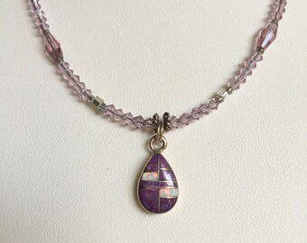 MOSAIC INLAID TEARDROP Pendant Necklace (Handcrafted)