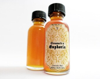 Infused Honey- Chamomile Euphoria. Relaxing Herbal Elixir: Chamomile, Hops, Skullcap, Vanilla. 1oz.