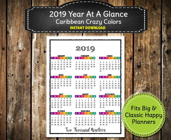 2019 PRINTABLE Caribbean Color Calendar 2019 Wall Calendar