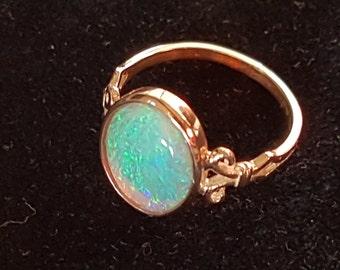 ring (ring) 18 K Gold & 2.14cts Lightning Ridge Black Opal Stone