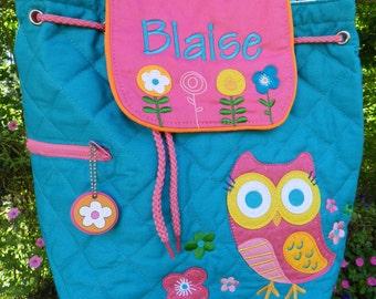 Personalized Stephen Joseph quilted backpack, personalized backpack. Toddler backpack, preschool backpack, diaper bag, girl diaper bag