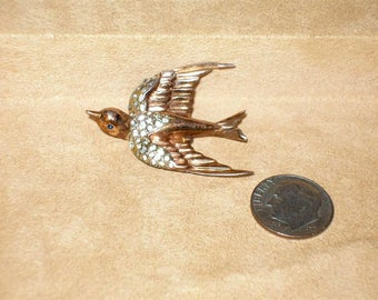 Vintage Signed Sterling Coro Sparrow In Flight Fur Clip With Clear Rhinestones 1940's Jewelry C22