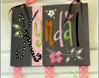 Hair Bow Holder, Clip Holder, Canvas Wall Art, Personalzed Bow Holder, Custom Bow Holder, Organizer, Room Decor, Hand-Painted