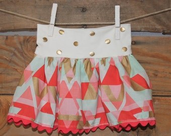 Gold and Coral Infant/Toddler Skirt, Toddler Skirt, Summer Skirt, Baby Skirt